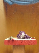 Title: Radicchio and Peanuts , Date: 1991 , Size: 12 x 9 inches , Medium: Oil on Panel , Signed: L/R