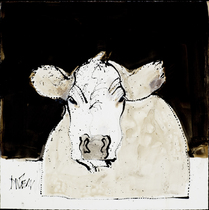 Title: Gesture Drawing (Cow) , Size: 18 x 18 inches , Medium: Dead Stick Ink Drawing , Signed: Signed , Edition: Original