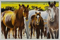Title: T-Cross Mares on Mountain Top , Size: 41 x 61 inches , Medium: Oil Stick , Edition: Original