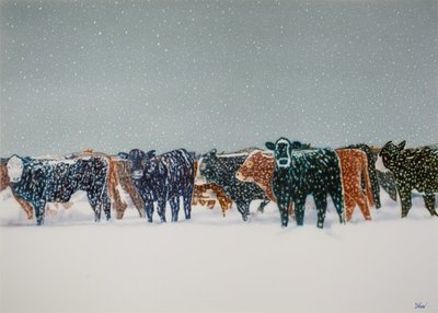 Title: Limon Cows , Size: 60 x 84 inches , Medium: Acrylic on Canvas , Signed: Signed , Edition: Original