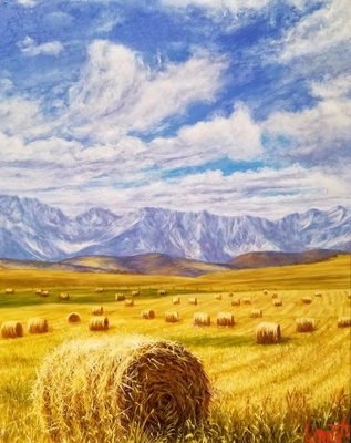 Title: Spring Hay in the San Luis Valley , Size: 10 x 8 inches , Medium: Oil on Board
