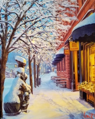 Title: Snowy Evening on Mill Street , Size: 10 x 8 inches , Medium: Oil on Board