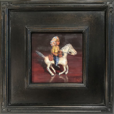Title: Ride Em Cowboy , Size: 6 x 6 inches , Medium: Oil on Board , Signed: Signed