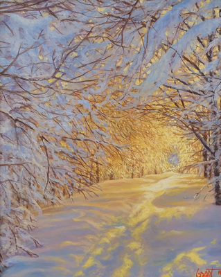 Title: Golden Winter , Size: 10 x 8 inches , Medium: Oil on Panel , Signed: L/R , Edition: Original
