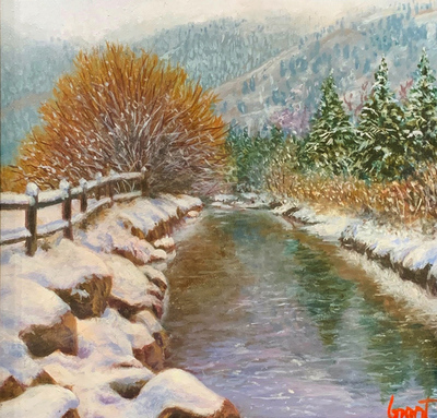 Title: Winter Flow , Size: 6 X 6 inches , Medium: Oil on Board , Signed: L/R , Edition: Original