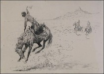 Title: The Sure-Enough Rider , Size: 5 11/16 x 7 13/16 inches , Medium: Drypoint Etching , Signed: L/R , Edition: Vintage