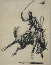 Title: Untitled: Bronco Rider , Size: 11 1/4 x 10 1/2 inches , Medium: Pen and ink on paper , Signed: Signed