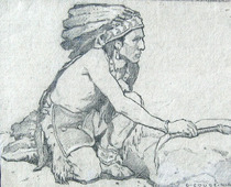Title: The Chief On the Warpath , Date: 1907 , Size: 7 x 9 inches , Medium: Graphite on Rag Paper , Signed: L/R , Edition: Vintage