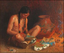 Title: The Moccasin Maker , Size: 24 x 29 inches , Medium: Oil on Canvas