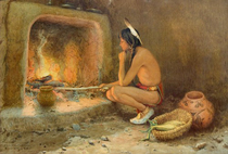Title: Roasting Corn , Date: 1904 , Size: 14 x 20 1/4 inches , Medium: Chromolithograph