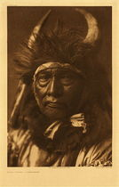 Title: Plate 128 Bull Chief - Apsaroke , Date: 1908 , Size: Portfolio, 22 x 18 inches , Medium: Vintage Photogravure , Edition: Vintage