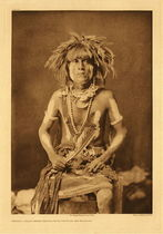 Title: Plate 408 Honovi, Walpi Snake Priest - with Totokya Day Painting , Date: 1921 , Size: Portfolio, 22x18 inches , Medium: Vintage Photogravure , Edition: Vintage