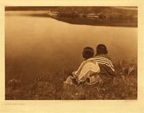 Title:   Plate 197 An Idle Hour-Piegan , Date: 1910 , Size: Portfolio, 18 x 22 inches , Medium: Vintage Photogravure , Edition: Vintage