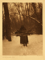 Title:   Plate 105  Wood Gatherer-Sioux , Date: 1908 , Size: Portfolio, 22 x 18 inches , Medium: Vintage Photogravure , Edition: Vintage