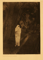 Title:   Plate 218  Waiting in the Forest-Cheyenne , Date: 1910 , Size: Portfolio, 22 x 18 inches , Medium: Vintage Photogravure , Edition: Vintage