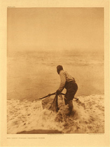 Title: Plate 469  The Smelt Fisher-Trinidad Yurok , Date: 1923 , Size: Portfolio, 22 x 18 inches , Medium: Vintage Photogravure , Edition: Vintage