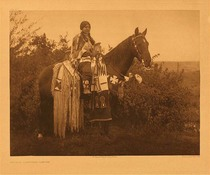Title:   Plate 273  Holiday Trappings - Cayuse , Date: 1910 , Size: Portfolio, 18 x 22 inches , Medium: Vintage Photogravure , Edition: Vintage