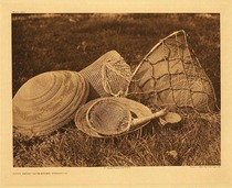 Title:   Plate 484 Pomo Seed-Gathering Utensils , Date: 1924 , Size: Portfolio, 18 x 22 inches , Medium: Vintage Photogravure , Edition: Vintage
