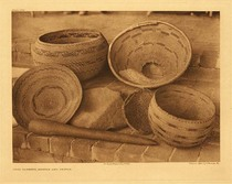 Title:   Plate 485  Pomo Baskets, Mortar and Pestle , Date: 1924 , Size: Portfolio, 18 x 22 inches , Medium: Vintage Photogravure , Edition: Vintage