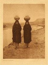 Title:   Plate 610 Zuni Girls at the River , Date: 1903 , Size: Portfolio, 22 x 18 inches , Medium: Vintage Photogravure , Edition: Vintage