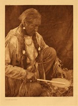 Title: Plate 687  Peyote Drummer , Date: 1927 , Size: Portfolio, 22 x 18 inches , Medium: Vintage Photogravure , Edition: Vintage