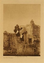 Title: On a Walpi House , Size: Volume, 12.5 x 9.5 inches , Medium: Vintage Photogravure , Edition: Vintage