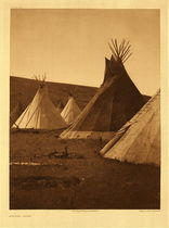 Title:   Plate 175 Atsina Camp , Date: 1908 , Size: Portfolio, 22 x 18 inches , Medium: Vintage Photogravure , Edition: Vintage