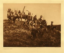 Title: Plate 077 Ogalala War Party , Date: 1908 , Size: Portfolio, 18 x 22 inches , Medium: Vintage Photogravure , Edition: Vintage