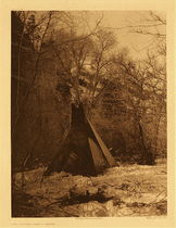 Title:   Plate 106 The Winter Camp - Sioux , Date: 1908 , Size: Portfolio, 22 x 18 inches , Medium: Vintage Photogravure , Edition: Vintage