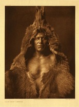Title:   Plate 150 Bear's Belly - Arikara , Date: 1908 , Size: Portfolio, 22 x 18 inches , Medium: Vintage Photogravure , Edition: Vintage
