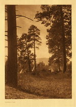 Title:   Plate 231 Flathead Camp , Date: 1910 , Size: Portfolio, 22 x 18 inches , Medium: Vintage Photogravure , Edition: Vintage