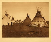 Title: Plate 186 Painted Lodges - Piegan , Date: 1900 , Size: Portfolio, 18 x 22 inches , Medium: Vintage Photogravure , Edition: Vintage