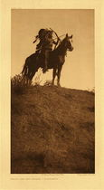 Title: Plate 125 Ready for the Charge - Apsaroke , Date: 1908 , Size: Portfolio, 22 x 18 inches , Medium: Vintage Photogravure , Edition: Vintage