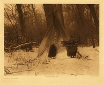 Title:   Plate 127 Winter Apsaroke , Date: 1908 , Size: Portfolio, 18 x 22 inches , Medium: Vintage Photogravure , Edition: Vintage