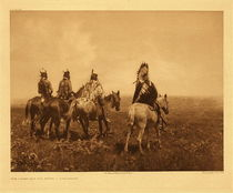 Title: Plate 137 Chief and his Staff - Apsaroke , Date: 1905 , Size: Portfolio, 18 x 22 inches , Medium: Vintage Photogravure , Edition: Vintage
