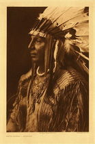 Title: Plate 152 White Shield - Arikara , Date: 1908 , Size: Portfolio, 22 x 18 inches , Medium: Vintage Photogravure , Edition: Vintage