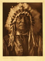 Title: Plate 153 Sitting Bear - Arikara , Date: 1908 , Size: Portfolio, 22 x 18 inches , Medium: Vintage Photogravure , Edition: Vintage