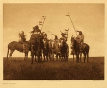Title: Plate 179 Atsina Warriors , Date: 1908 , Size: Portfolio, 18 x 22 inches , Medium: Vintage Photogravure , Edition: Vintage
