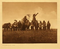 Title:   Plate 182 The Scouts Report - Atsina , Date: 1908 , Size: Portfolio, 18 x 22 inches , Medium: Vintage Photogravure , Edition: Vintage
