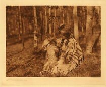 Title: Plate 632 Assiniboin Mother and Child , Size: 18 x 22 inches , Medium: Vintage Photogravure , Edition: Vintage