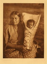 Title: Plate 685 A Comanche Mother , Size: Portfolio, 22 x 18 inches , Medium: Vintage Photogravure , Edition: Vintage