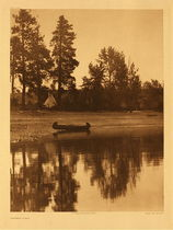 Title:   Plate 254 Kutenai Camp , Date: 1910 , Size: Portfolio, 22 x 18 inches , Medium: Vintage Photogravure , Edition: Vintage