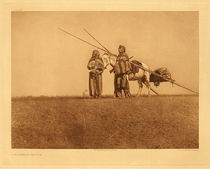 Title: Plate 637 A Blackfoot Travois , Date: 1926 , Size: Portfolio, 18 x 22 inches , Medium: Vintage Photogravure , Edition: Vintage