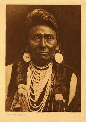 Title:   Plate 256 Chief Joseph -  Nez Perce , Date: 1903 , Size: Portfolio, 22 x 18 inches , Medium: Vintage Photogravure , Edition: Vintage