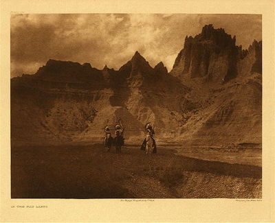 Title:   Plate 119 In the Badlands , Date: 1904 , Size: Portfolio, 18 x 22 inches , Medium: Vintage Photogravure , Edition: Vintage