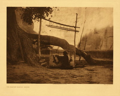 Title: Plate 034 The Blanket Weaver - Navaho , Date: 1906 , Size: Portfolio, 18 x 22 inches , Medium: Vintage Photogravure , Edition: Vintage