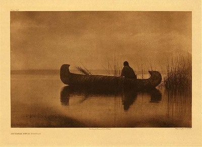 Title: Plate 249 Kutenai Duck Hunter , Date: 1910 , Size: Portfolio, 18 x 22 inches , Medium: Vintage Photogravure , Edition: Vintage
