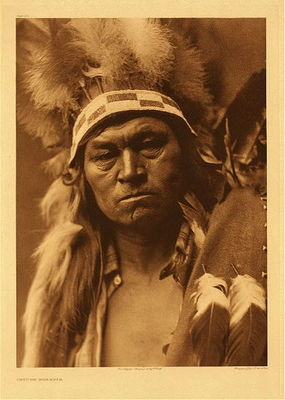 Title:   Plate 272 Cayuse Warrior , Date: 1910 , Size: Portfolio, 22 x 18 inches , Medium: Vintage Photogravure , Edition: Vintage