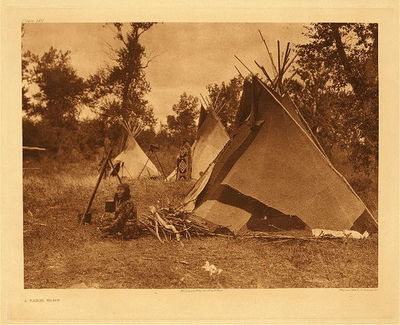 Title:   Plate 620 A Sarsi Camp , Date: 1910 , Size: Portfolio, 18 x 22 inches , Medium: Vintage Photogravure , Edition: Vintage