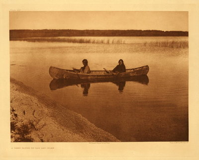 Title:   Plate 621 A Cree Canoe on Lac Les Isle , Date: 1910 , Size: Portfolio, 18 x 22 inches , Medium: Vintage Photogravure , Edition: Vintage